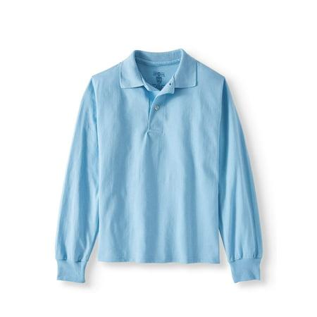 Boys' School Uniform Spot Shield Long Sleeve Polo Sport Shirt