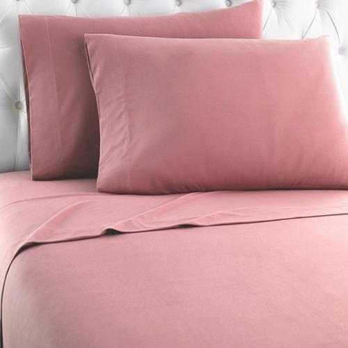 Micro Flannel Solid Sheet Sets California King - Frosted Rose
