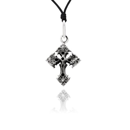 Gothic Cross 92.5 Sterling Silver Charm Necklace Pendant Jewelry With Cotton - Gothic Cross Charms