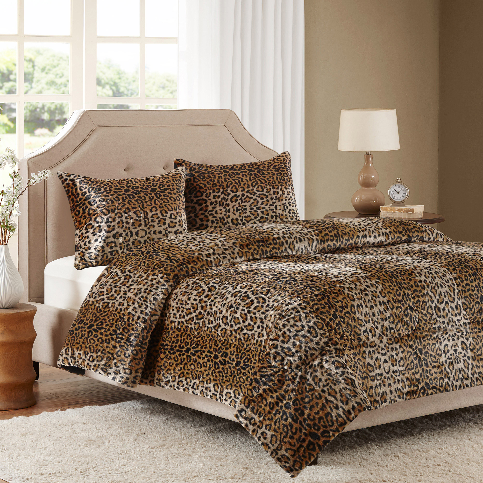 Better Homes and Gardens Faux Fur Bedding Comforter Mini Set