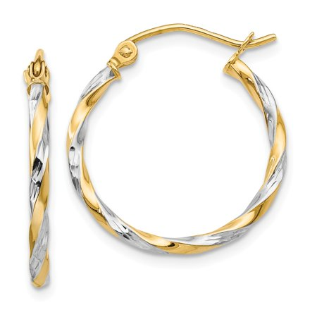 14k Yellow and White Gold Two Tone Hollow Twisted Hoop Earrings (20mm x 21mm)