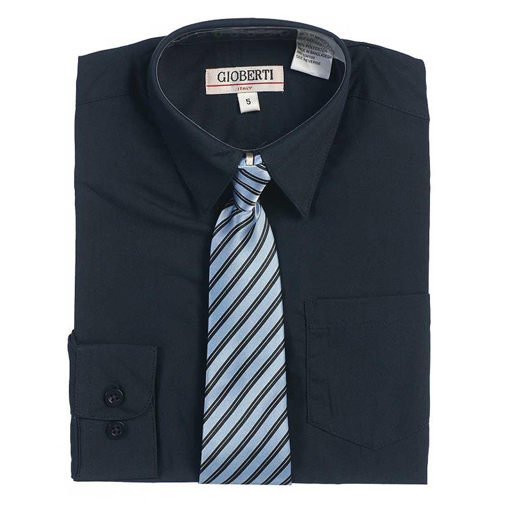Navy Button Up Dress Shirt Blue Striped Tie Set Boys 5-18