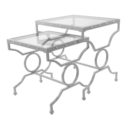 Monarch Nesting Table 2Pcs Set / Silver With Tempered Glass