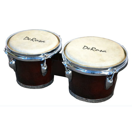 Deluxe Chrome Plated 7 and 8 Inch Bongo Drums - Tunable Lap Bongos - Dark Brown