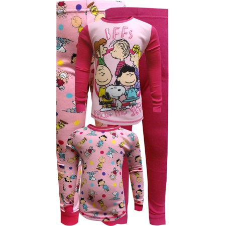 Peanuts Pink Cotton 4 Piece Pajama