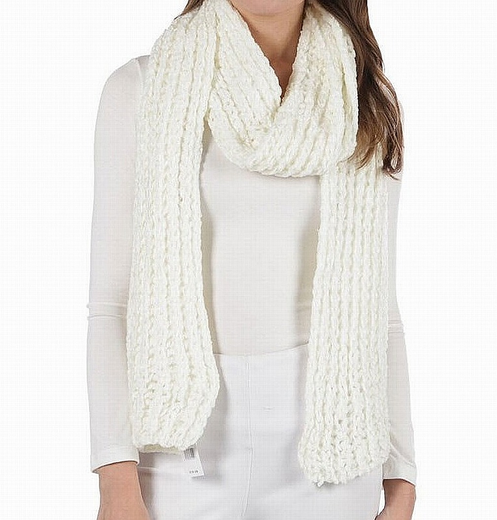 Designer NEW Solid Off White One Size Eyelash Knit Textured Long Scarf