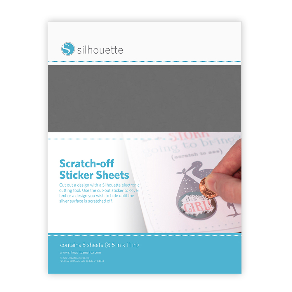 """Silhouette Printable Scratch-Off Sticker Sheets 8.5""""X11"""" 5pk Silver"""