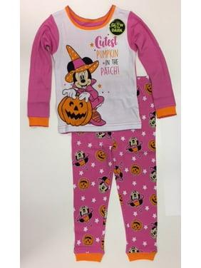 Halloween Minnie Mouse Toddler Girl Long Sleeve Cotton Snug Fit Pajamas, 2-Piece Set