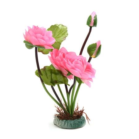 Pink Plastic Flower Aquarium Fish Tank Aquascape Decor w/ Weighted -