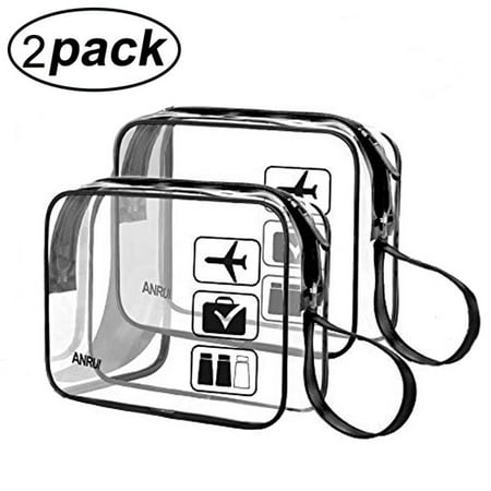 (2 Pack) TSA-Approved Clear Travel Toiletry Bag With Handle Strap, ANRUI Airline Kit 3-1-1 Clear Liquids Toiletries & Cosmetics Organizer Carry-On Luggage for Women and Men (Pack Bag Travel)