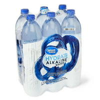 Great Value Hydrate Alkaline Water, 1L, 6 Count