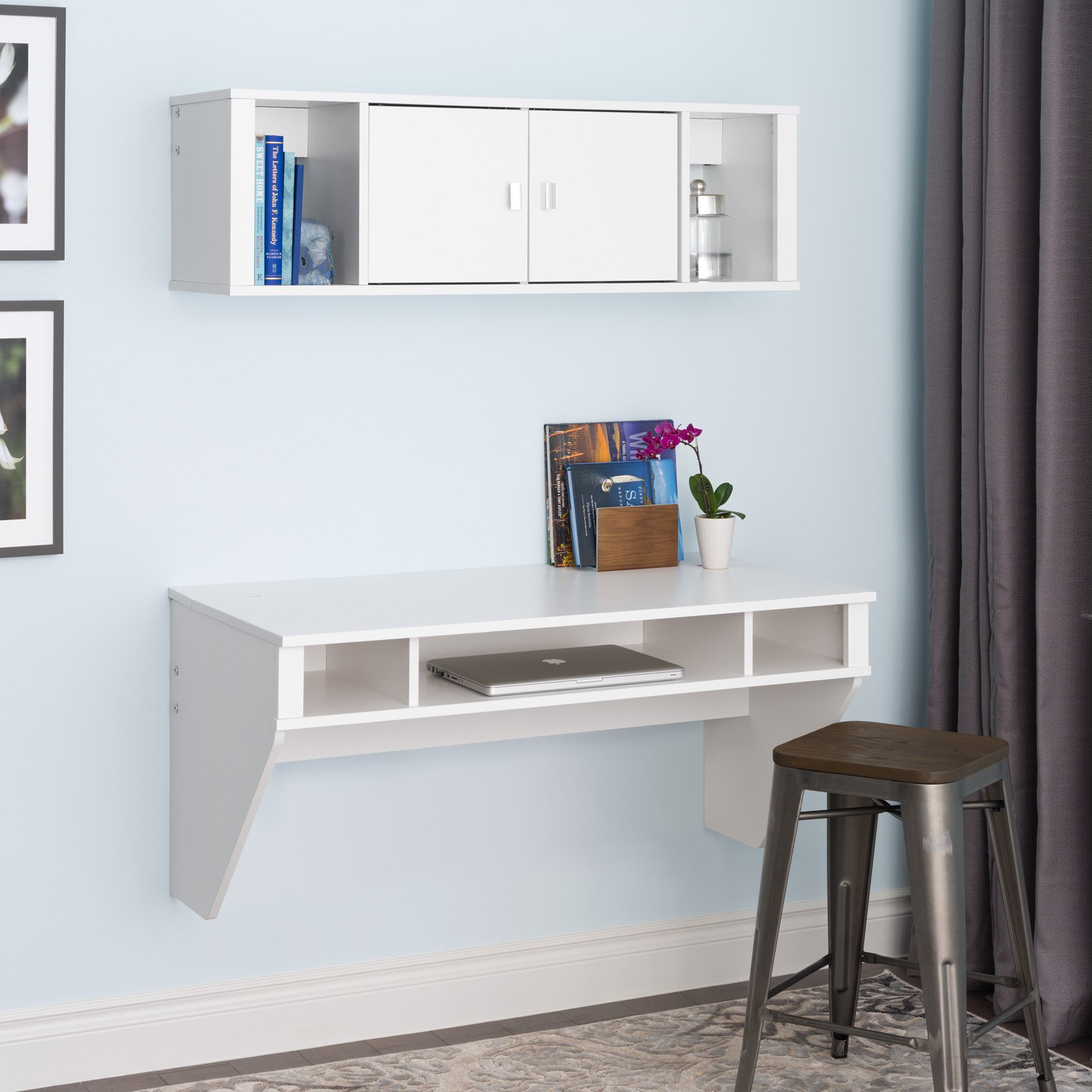 Prepac Designer Floating Desk & Hutch Set