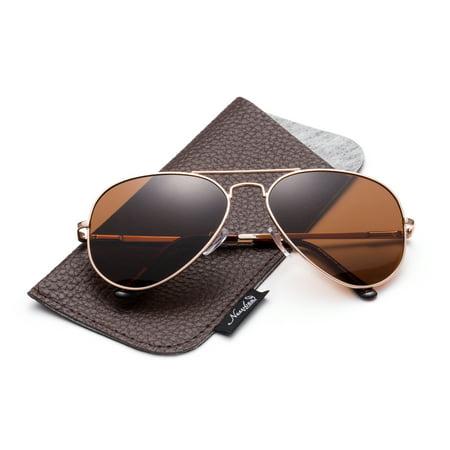 22679ac1f60 Newbee - Polarized Aviator Sunglasses Mirrored Lens Classic Aviator  Polarized Sunglasses Small - Walmart.com