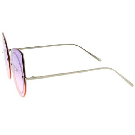 154dce426107c sunglass.la - Women s Oversize Rimless Colored Gradient Flat Lens Cat Eye  Sunglasses 63mm (Silver   Purple-Pink) - Walmart.com