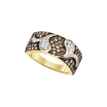 Diamond Gold Cocktail Ring - 10k Yellow Gold Womens Brown Diamond Cocktail Band Ring 7/8 Cttw