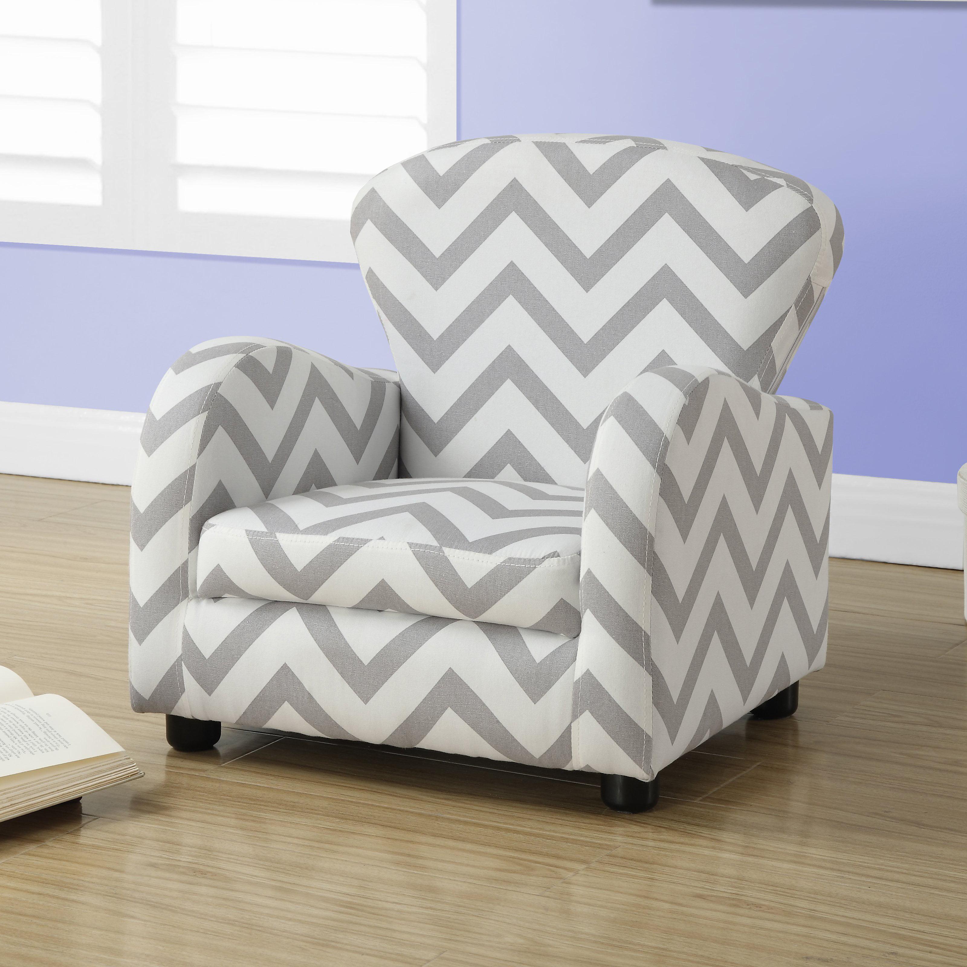 Elegant Monarch Juvenile Chair Grey Chevron Fabric   Walmart.com