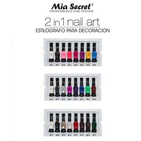 20 PCS FULL SET 2 IN 1 NAIL ART PEN MIA SECRET Especial Para Decoraciones+ Free Temporary Body Tatoo!