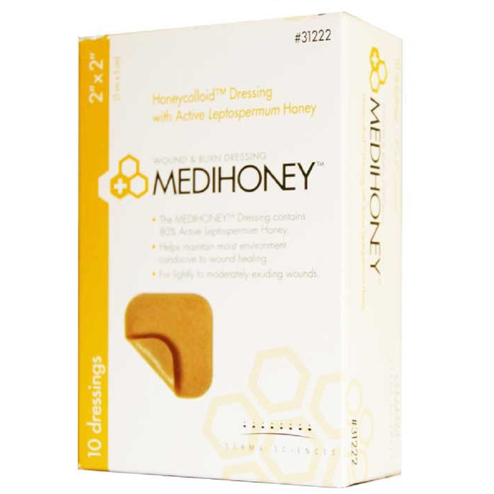 MEDIHONEY Honeycolloid Dressing 2 X 2 Inch Square, Sterile, Box of 10