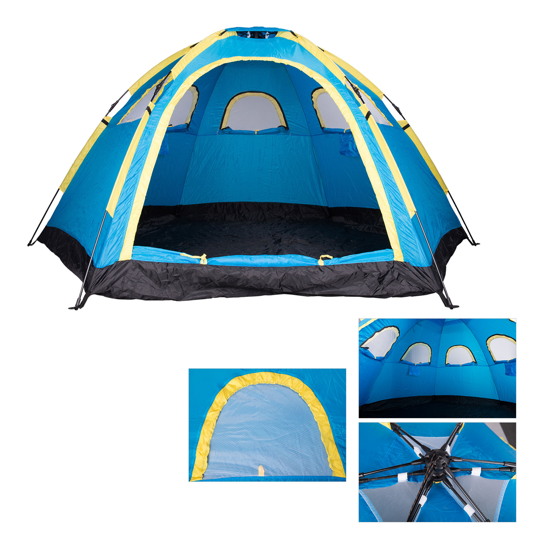 Large Instant Pop up Family Tent 4 Person 3-Season Camping Dome-Style easy Setup