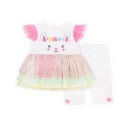 Bunny Glitter Tuelle Dress & Capri, 2pc Outfit Set (Baby Girls & Toddler Girls)