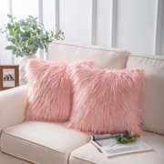 """Phantoscope Luxury Mongolian Fluffy Faux Fur Series Square Decorative Throw Pillow Cusion for Couch, 18"""" x 18"""", Pink, 2 Pack"""