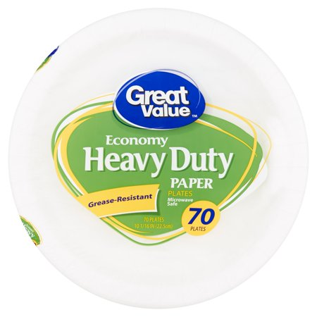Great Value Economy Heavy Duty Paper Plates, 70 count (Heavy Duty Plastic Plates)