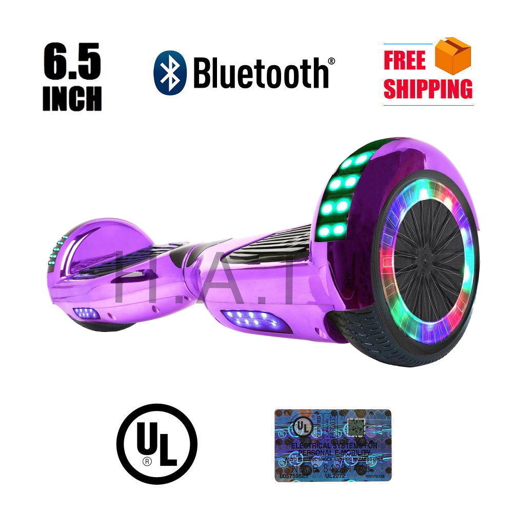 "UL 2272 Certified Hoverboard 6.5"" with Bluetooth Speaker Self Balancing Wheel Electric Scooter - ChromePurple"
