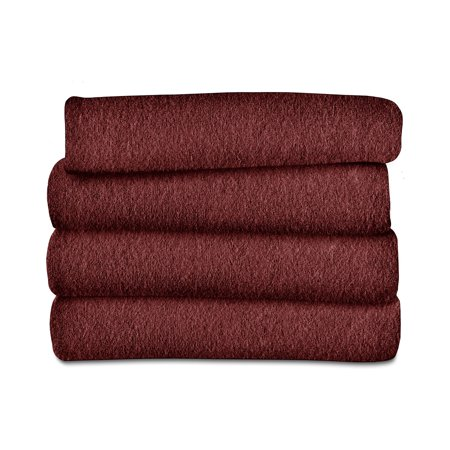 "Sunbeam Heated Electric Fleece Throw Blanket with 3 heat settings, 60"" x 50"", Garnet Red"