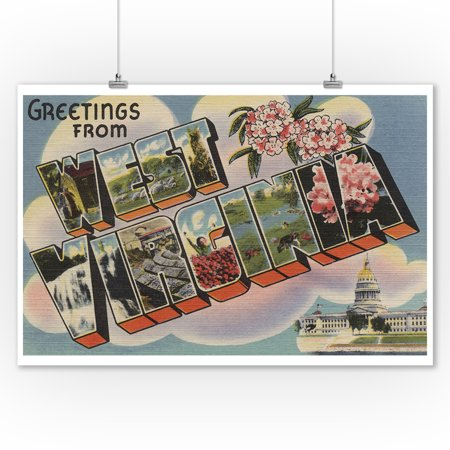 Greetings From West Virginia  Capital Bldg  Light Blue  9X12 Art Print  Wall Decor Travel Poster