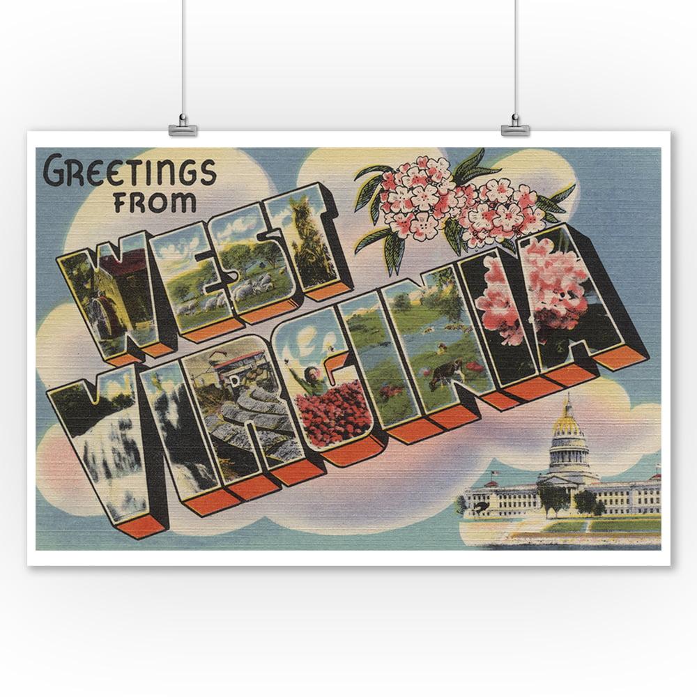 Greetings from West Virginia (Capital Bldg) Light Blue (9x12 Art Print, Wall Decor Travel Poster)