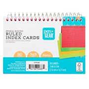 """Pen + Gear Spiral Ruled Index Cards, Neon, 50 Count, 3"""" x 5"""""""