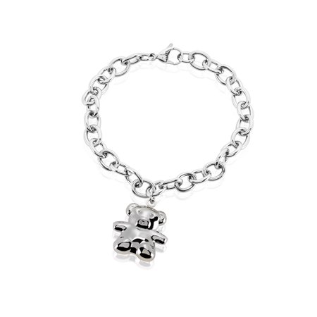 Bear Charm Stainless Steel Cable Chain Bracelet (8mm) - - 8mm Charm Bracelet
