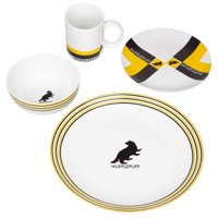 Harry Potter Hufflepuff Porcelain 16 Piece Dinnerware Set for 4 - Includes 4 Dinner Plates, 4 Salad Plates, 4 Bowls and 4 Mugs