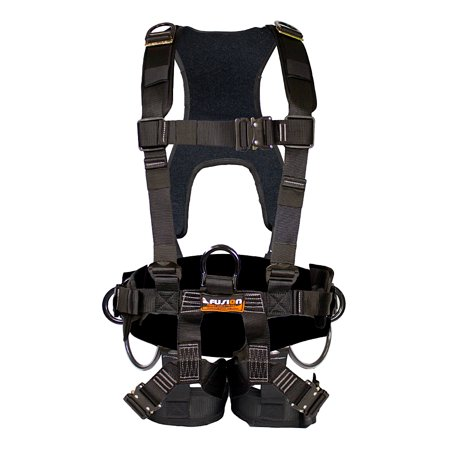 Fusion Climb Tac-Scape Heavy Duty Tactical Full Body Padded H Style Rescue Harness Black Size S-M