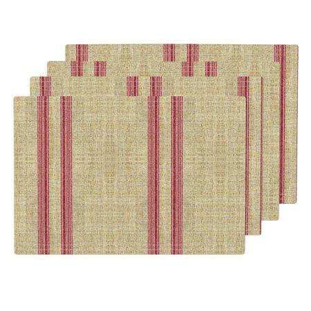 Vintage Grain Sack - Cloth Placemats Ticking Faux Linen Vintage Grain Sack Stripe Linen Set of 4