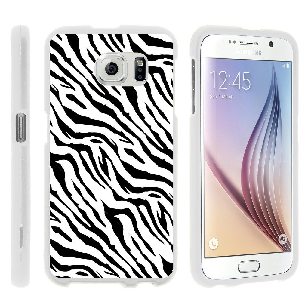 Samsung Galaxy S6 Edge G925, [SNAP SHELL][White] 1 Piece Snap On Rubberized Hard White Plastic Cell Phone Case with Exclusive Art - Zebra Pattern