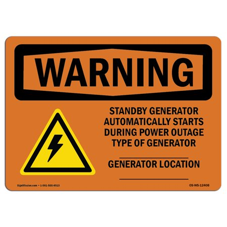 OSHA WARNING Sign - Standby Generator Automatically With Symbol | Choose from: Aluminum, Rigid Plastic or Vinyl Label Decal | Protect Your Business, Work Site, Warehouse & Shop Area | Made in the USA