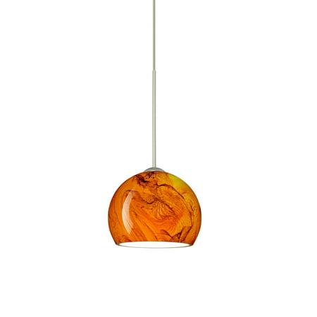 Besa Lighting 1XT-5658HB-LED Palla 1-Light LED Cord-Hung Mini Pendant with Habanero Glass -