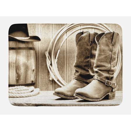 Western Theme Home Decor (Western Bath Mat, American West Themed Photograph Focused on Boots in front of Barrel and Ropes, Non-Slip Plush Mat Bathroom Kitchen Laundry Room Decor, 29.5 X 17.5 Inches, Sepia and)