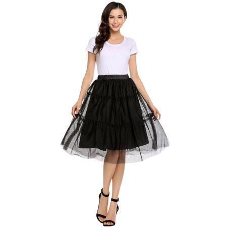 Women High Elastic Waist Bubble Skirt Knee Solid Casual Party HFON