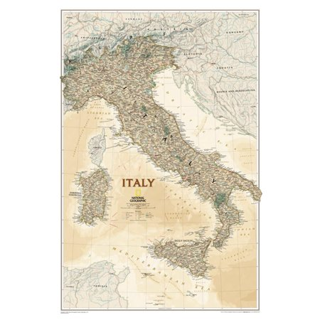 National Geographic Italy Map, Executive Style Poster -