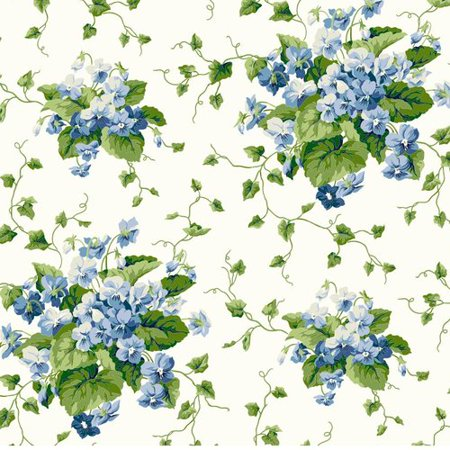 York Wallcoverings Waverly Cottage Sweet Violets 33' x 20.5