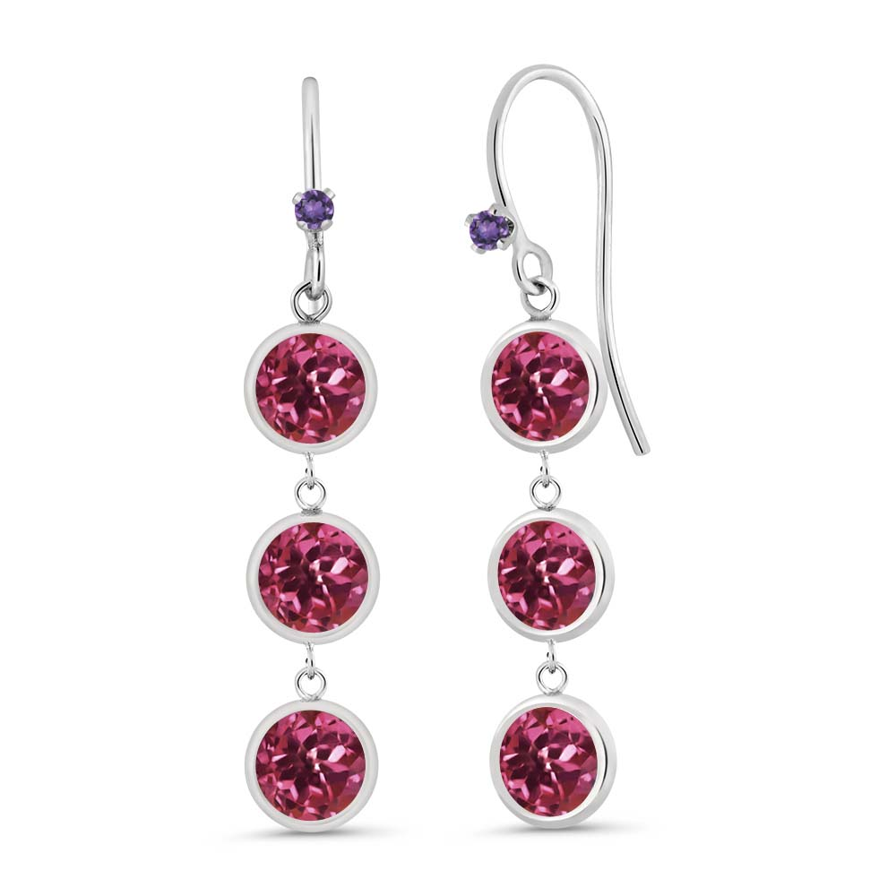 3.04 Ct Round Pink Tourmaline Purple Amethyst 925 Sterling Silver Earrings by
