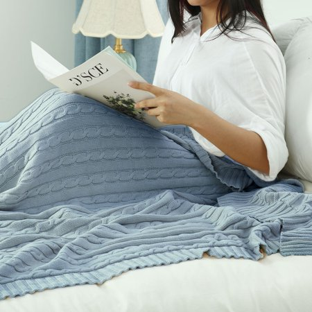 """Knitted Throw Blanket for Sofa Couch Soft 100% Cotton Blanket Pale Blue 30""""x40"""" - image 7 de 8"""