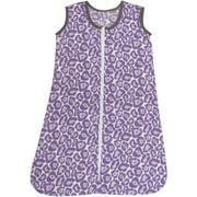 Bacati - Ikat Leopard 100% Cotton breathable Muslin Sleep Sack, Purple