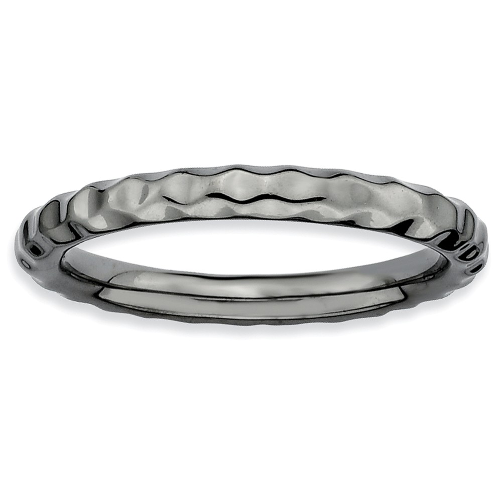Sterling Silver Stackable Expressions Black-plated Hammered Ring