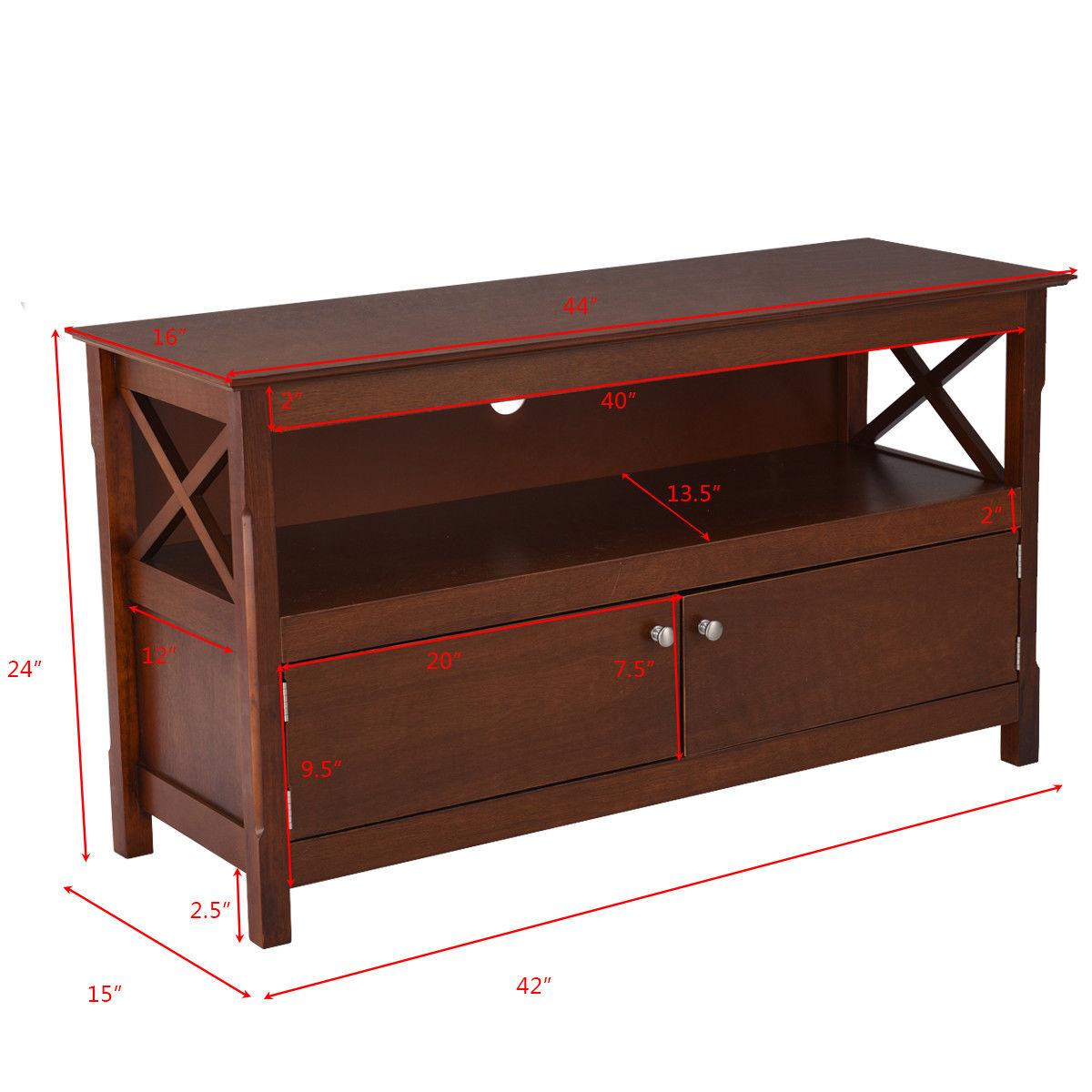 "44"" TV Stand Console Wooden Storage Cabinet Shelf Media Center Stand - image 2 de 9"