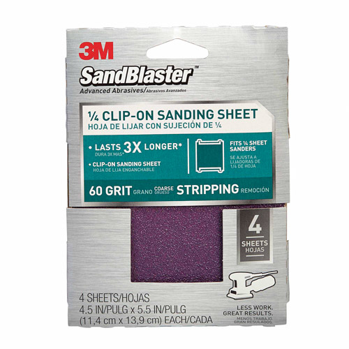 3M SandBlaster Clip-On Palm Sanding Sheets, 4.5 in x 5.5 in, 60 grit, 4/pk
