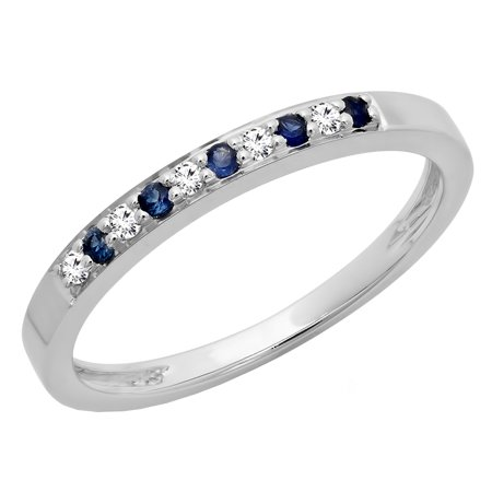 10k White Gold Wedding Bands - 10K Gold Round Blue Sapphire & White Diamond Ladies Anniversary Wedding Band Stackable Ring