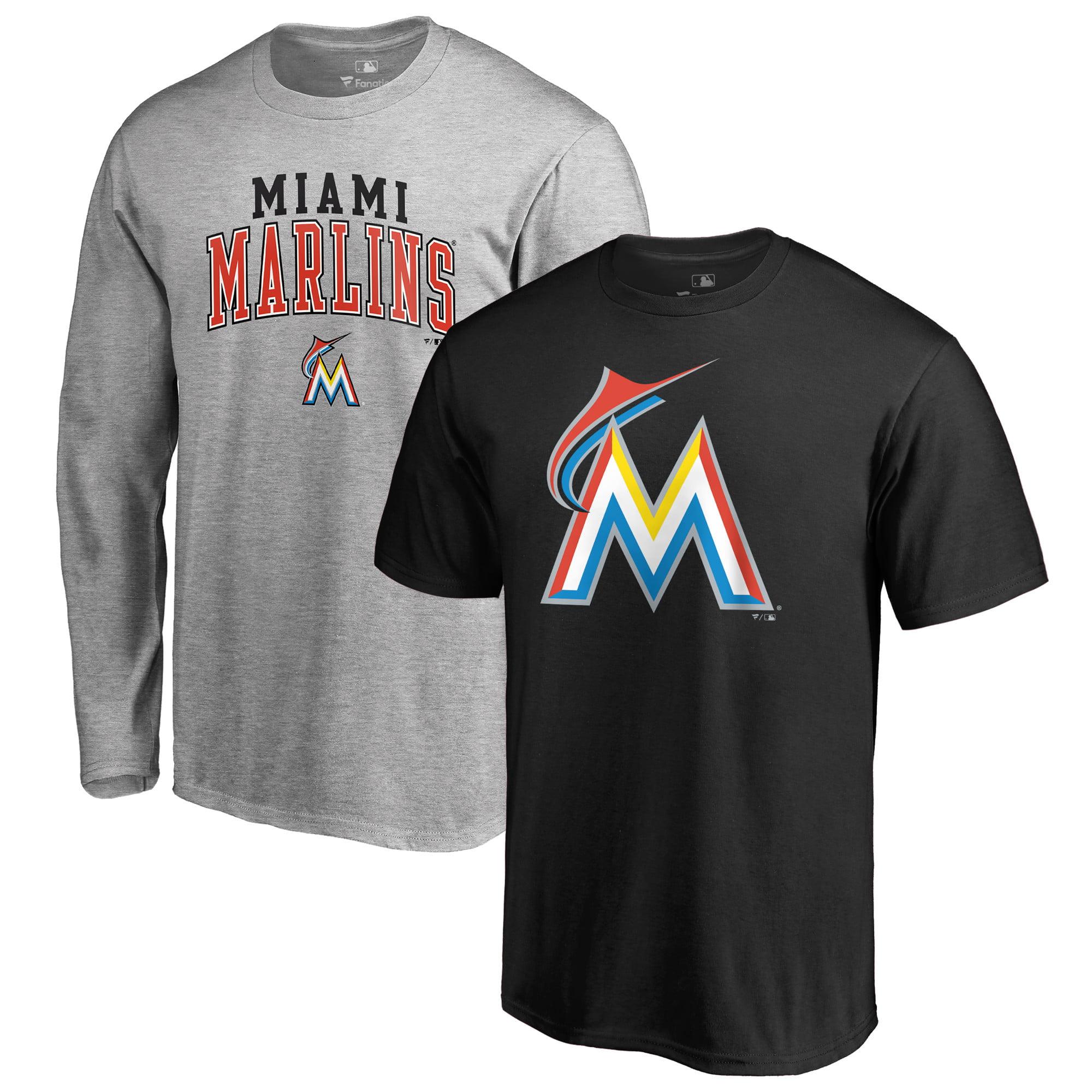 Miami Marlins Fanatics Branded T-Shirt Combo Set - Black/Gray